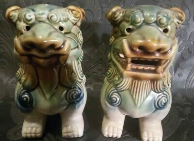 £29 • Buy  Pair Of Vintage Chinese Glazed Clay Foo Dogs