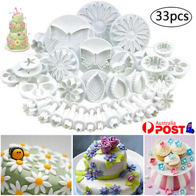 AU13.89 • Buy 33pcs Plunger Cutters Cake Decorating Fondant Cookie Biscuit Baking Mold Flower