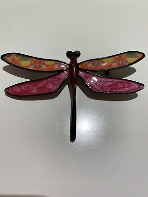 £9.99 • Buy LARGE DRAGONFLY BROOCH PIN ART DECO Bright Glossy MULTI COLOURED