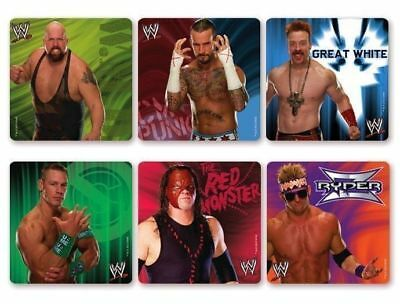 6 X Square Stickers ~ WWE Wrestling Great White Ryder Red Monster Party Favour ~ • 2.01£