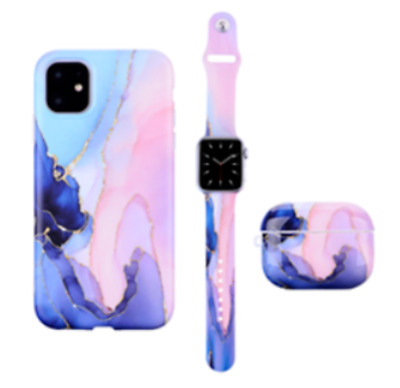 $ CDN34.18 • Buy Geometric Marble Strap Band Case Cover For IPhone Apple IWatch Airpods 1 2 Pro