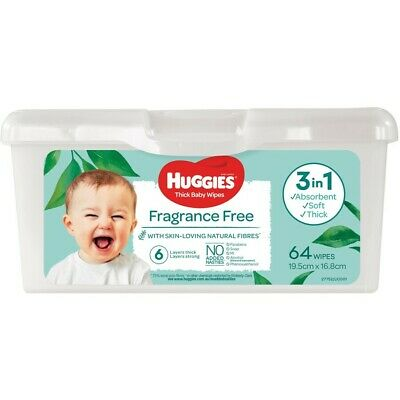 AU5.50 • Buy Huggies Thick Baby Wipes Fragrance Free 64 Pack