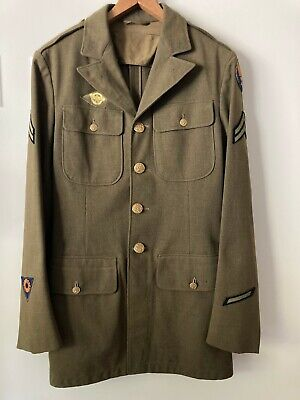 1940s WW2 WWII Air Force Corp Enlisted Mens Wool 4 Pocket Tunic Jacket Pleated • 62.17£