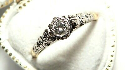 Stunning Antique Art Deco PLATINUM Natural DIAMOND SOLITAIRE 18ct Gold Ring • 225£