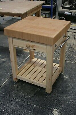 £555 • Buy Butchers Block Trolley Butchers Block Top And Painted Base