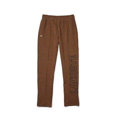 Men's Lacoste Brown/Black L!VE Houndstooth Print Fleece Tracksuit Pants - S • 102.85£