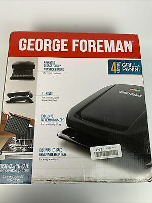 George Foreman 4-Serving Removable Plate Electric Grill And Panini Press, Black • 35.37£