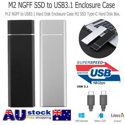 AU18.49 • Buy M.2 NGFF SSD To USB 3.1 Type-C Adapter Enclosure Case Solid State Hard Disk AU