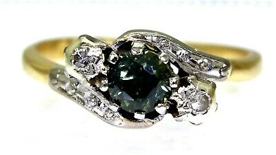 Art Deco Green Sapphire Diamond Trilogy 18ct Gold Platinum Ring Size J 1/2 ~ 5 • 395£