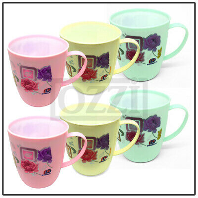 £6.89 • Buy 6 X FLORAL DRINKING CUPS Reusable Plastic Mugs Tea Coffee Camping Picnic Kids