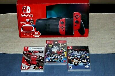 $ CDN549.99 • Buy Nintendo Switch Mario Bowser Red Joy-Con Special Edition + 3 Games - Like New
