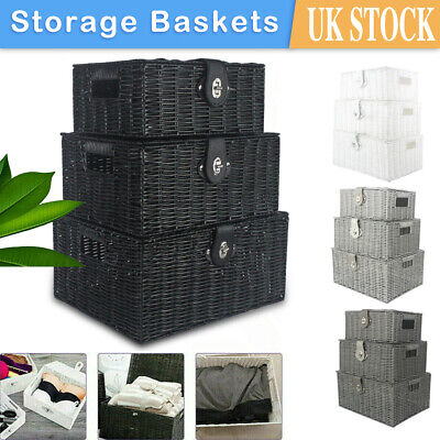 Set Of 3 Storage Basket Hamper Resin Wicker Woven Hamper Boxes With Lid And Lock • 19.99£