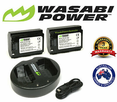 AU129.95 • Buy Wasabi Battery X 2 & Charger For Sony NP-FZ100, Alpha A7R III (7R III/ILCE-7RM3)