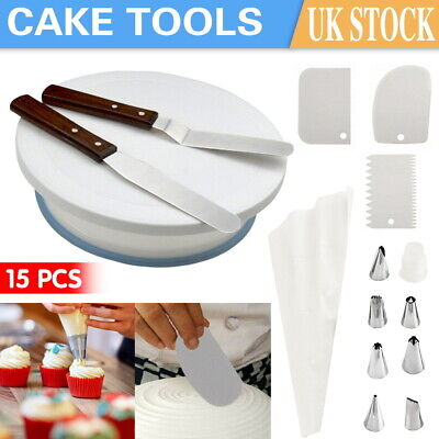 £11.99 • Buy 6-15x Cake Decorating Tool Set Turntable Nozzles Smoother Spatula Rotating Stand