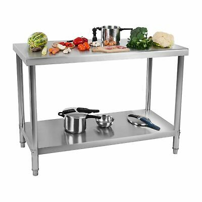 Commercial Kitchen Food Prep Worktable Stainless Steel Worktop Bench With Shelf • 165£