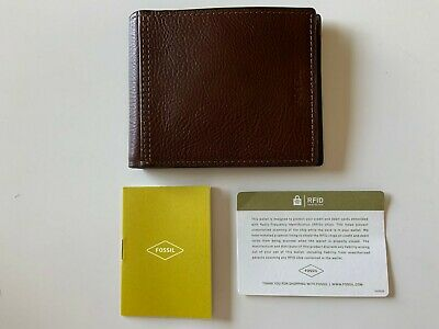 $32.50 • Buy NEW Fossil SML1503200 Tyler Bifold RFID Men's Leather Wallet BROWN $48