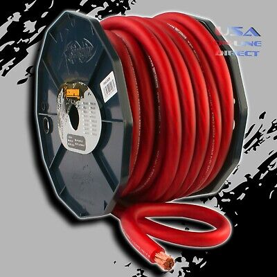 $999.99 • Buy 0 Gauge 50ft RED Power Ground OFC Wire Strand Copper Marine Cable 1/0 AWG USA