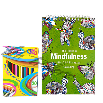 ADULT COLOURING BOOKS - MINDFULNESS - ANTI-STRESS RELAXATION With Pencils • 3.89£
