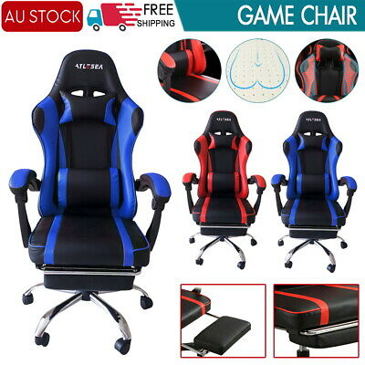 AU117.79 • Buy Gaming Office Chair Racing Executive Footrest Computer Seat PU Leather Backrest