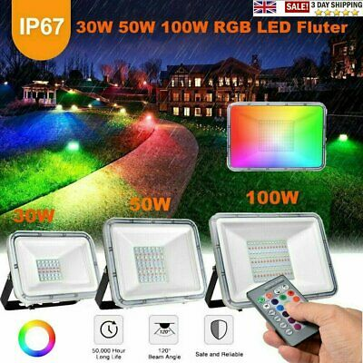 50W 100W LED Flood Light Waterproof Bright Outdoor Garden Security Spot Lights • 18.35£