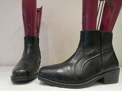 Mens Pavers Black Leather Zip Up Ankle Boots Uk 7 Eu 41 (3644) • 30£