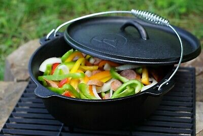 $ CDN37.77 • Buy Cast Iron Dutch Oven Convenient Handle Sturdy Seasoned Versatile 5 Quart