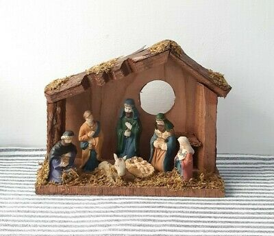 Vintage Nativity Wooden Stable Scene Christmas Decorations Ornaments • 24.99£