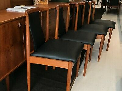 AU2850 • Buy Parker Dining Chairs X4 In Full-grain Black Leather - Mid-Century Fully Restored