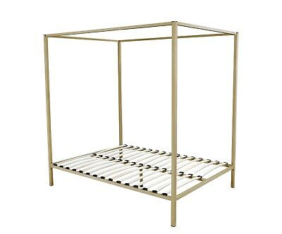 AU389.99 • Buy 4 Four Poster Queen Bed Frame Steel Construction Finish In Gold