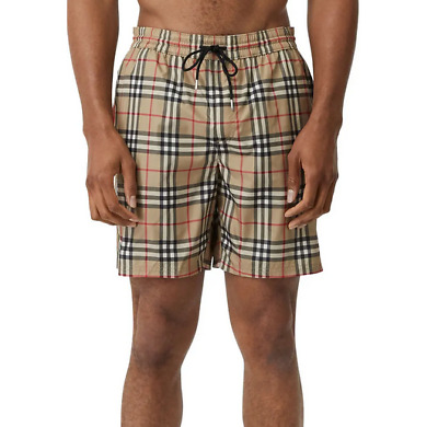 $379.99 • Buy Burberry Men Guildes Vintage Check Swim Shorts Trunks Beige Camel Size Small NWT