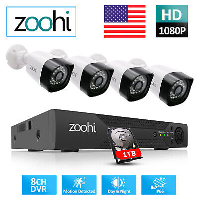AU206.05 • Buy Zoohi 1080P HD 4CH AHD Security Camera System CCTV 4*Cams Outdoor 2MP Waterproof