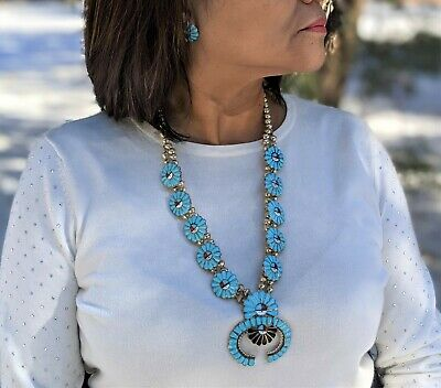 $ CDN1522.44 • Buy Vintage Zuni Squash Blossom Necklace Earrings Set Turquoise Signed Jewelry