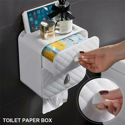 Wall Mounted Toilet Paper Roll Holder Tissue Drawer Bathroom Storage Box UK • 9.99£