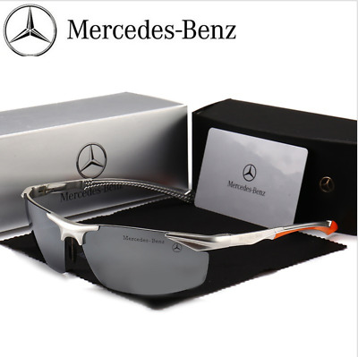 Mercedes Men's Polarized Sunglasses UV Protection Metal Frame Ultra Silver Gray • 15.99£