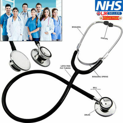 Medical EMT Dual Head Stethoscope For Pro Nurse Doctor Vet Student Health Black • 3.19£
