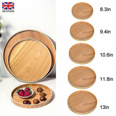 £9.09 • Buy Round Wooden Plate Serving Tray Natural Wood Tea Food Server Dishes Platter Gift