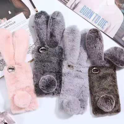 AU6.37 • Buy Warm Plush Rabbit Fluffy Phone Case Cover For OPPO R17 A73 Find X2 Reno Realme