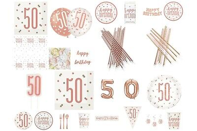 Rose Gold Glitz 50th Birthday Party Supplies Tableware, Balloons, Decorations • 1.99£
