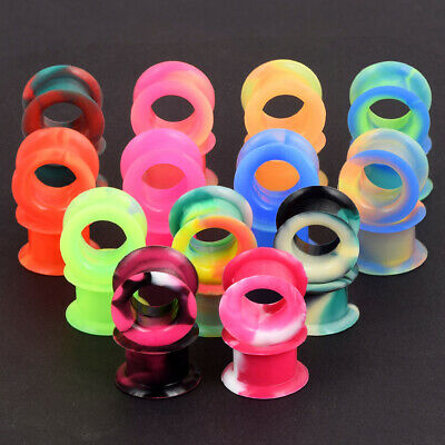 $4.99 • Buy 2PCS Thick Silicone Ear Gauges Plugs Flesh Tunnels Soft Earskin Earlets 2g-1