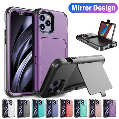 AU11.13 • Buy Armor Mirror Card Slot Stand Hybrid Case Cover For IPhone 12 11 Pro Max XR X 8 7