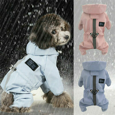 Dog Clothes Rain Coat Waterproof 4 Legs Pet Raincoat Hoodie For Small Middle Dog • 8.26£