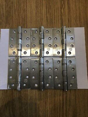 "2 PAIRS 4/"" 102mm ECLIPSE FIRE DOOR HINGES GRADE 11 POLISHED CHROME NEW"