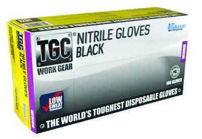 AU39.95 • Buy Worlds Toughest Disposable Gloves  - TGC Black Nitrile Low Sweat L