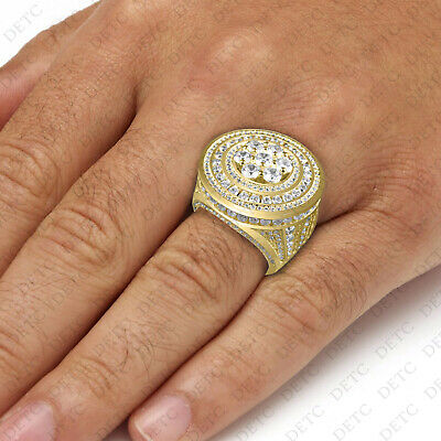 AU1405.83 • Buy Mens Lab Simulated Diamond Rock Cluster Fashion Pinky Ring In 10k Yellow Gold