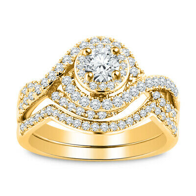 AU218.19 • Buy 14K Yellow Gold Fn 3.00Ct Diamond Round Cut Solitaire Engagement Ring Bridal Set