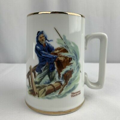 $ CDN9.54 • Buy 1985 Norman Rockwell Museum  Braving The Storm  Porcelain Coffee Cup Mug Gold