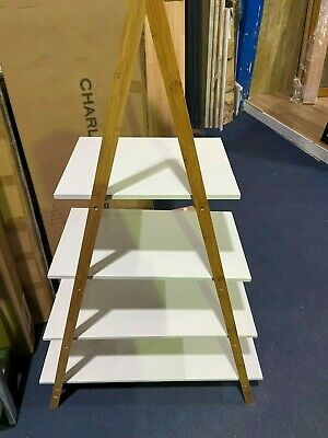 Charles Jacobs 4 Tier Bamboo Ladder Shelving Unit - Marble Effect • 29.90£