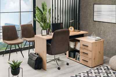 Alfano Oak And Black Large Corner Desk With Drawers Study Office Storage Desk • 189£