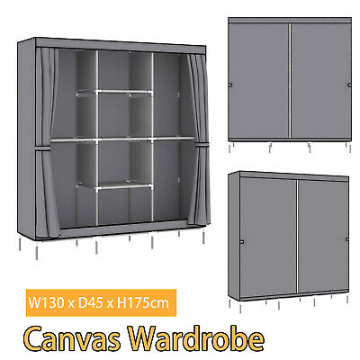 £27.99 • Buy Portable Large Fabric Canvas Wardrobe Clothes Storage Rail Cover Cupboard Rail