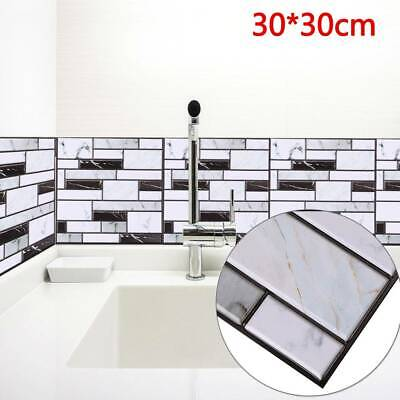 10pcs 3D Wall Tile Stickers Kitchen Bathroom Mosaic Self-adhesive Decor 30x30cm • 8.49£